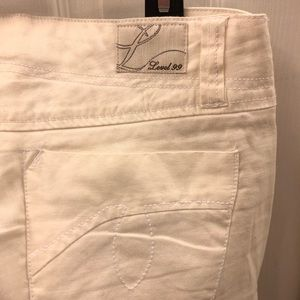 Anthropology Cream Linen Bootcut Pants